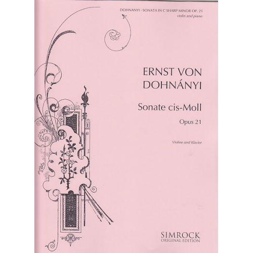 SIMROCK DOHNANYI E. (VON) - SONATE CIS-MOLL OP. 21 - VIOLON ET PIANO