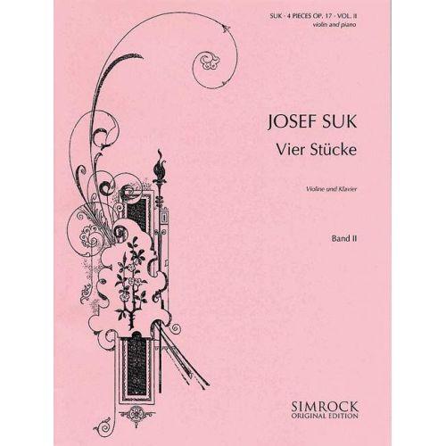 SIMROCK SUK JOSEF - FOUR PIECES OP. 17 BAND 2 - VIOLIN AND PIANO