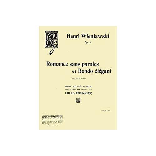 COMBRE WIENIAWSKI HENRY - ROMANCE SANS PAROLES ET RONDO ELEGANT OP.9 - VIOLON ET PIANO