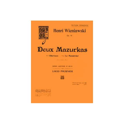 COMBRE WIENIAWSKI HENRY - MAZURKAS (2) OP.19 - VIOLON ET PIANO