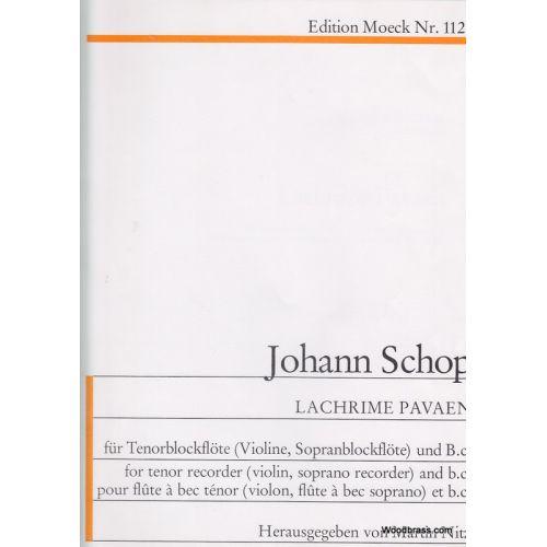 MOECK SCHOP J. - LACHRIMAE PAVAEN - FLUTE ABEC TENOR (FLB SOP, VL.) ET BC