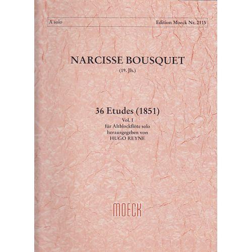 MOECK BOUSQUET N. - 36 ETUDES (1851) VOL. 1 - FLUTE A BEC ALTO