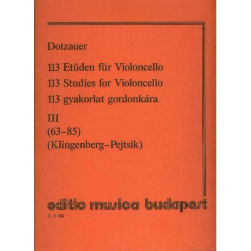 EMB (EDITIO MUSICA BUDAPEST) DOTZAUER - 113 STUDIES V3 - VIOLONCELLE