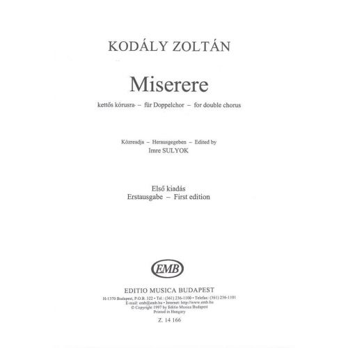 EMB (EDITIO MUSICA BUDAPEST) KODALY - MISERERE - MIXED VOICES