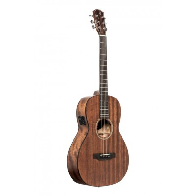 JN GUITARS PARLOR ELECTRO-ACOUSTIC GUITAR WITH SOLID MAHOGANY TOP, DOVERN SERIES