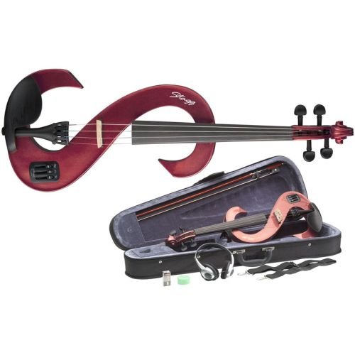 STAGG 4/4 ELECTRIC VIOLIN SET - RED