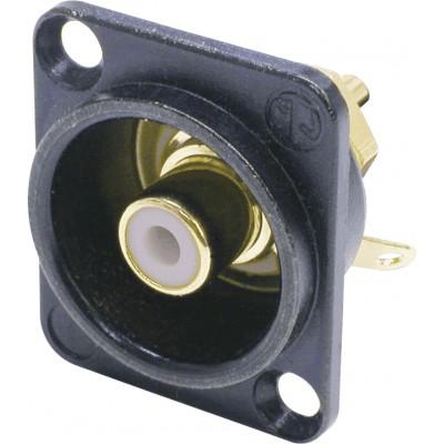 NEUTRIK PHONO AUDIO CONNECTORS (RCA) BLACK FRAME FORMAT D. WHITE INSULATION
