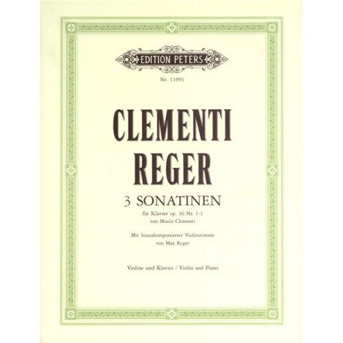 EDITION PETERS CLEMENTI MUZIO - 3 SONATINAS OP.36 NOS. 1-3 - VIOLIN AND PIANO