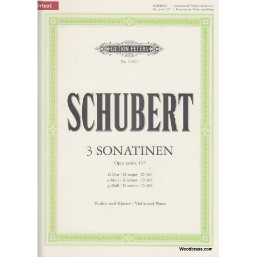 EDITION PETERS SCHUBERT FRANZ - 3 SONATINAS - VIOLIN AND PIANO