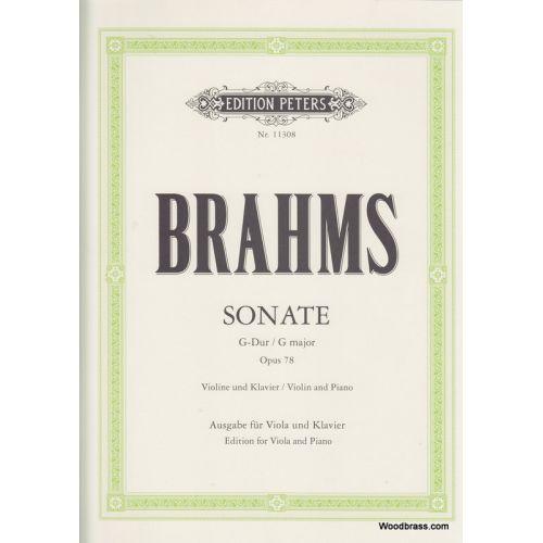 EDITION PETERS BRAHMS J. - VIOLIN SONATA IN G OP. 76 ARRANGED FOR VIOLA - ALTO ET PIANO