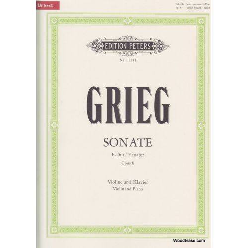 EDITION PETERS GRIEG EDVARD - SONATA NO.1 IN F OP.8 - VIOLIN AND PIANO