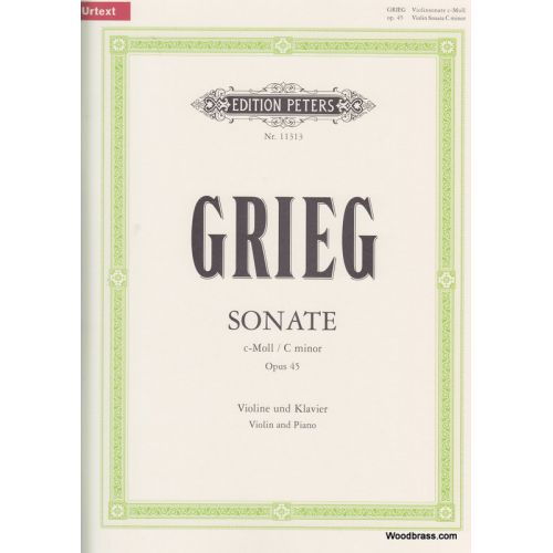 EDITION PETERS GRIEG EDVARD - SONATA NO.3 IN C MINOR OP.45 - VIOLIN AND PIANO