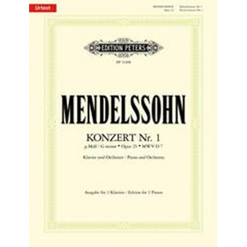 EDITION PETERS MENDELSSOHN F. - PIANO CONCERTO N°1 IN G MINOR OP.25 - 2 PIANOS