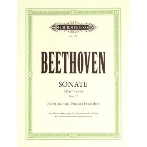 EDITION PETERS BEETHOVEN LUDWIG VAN - HORN SONATA IN F OP.17 - HORN AND PIANO