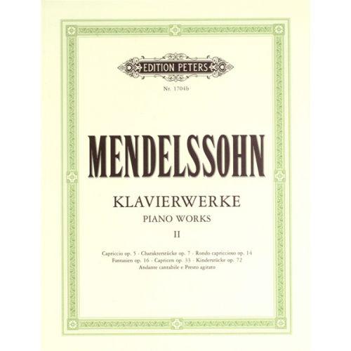 EDITION PETERS MENDELSSOHN FELIX - COMPLETE PIANO WORKS VOL.2 - PIANO