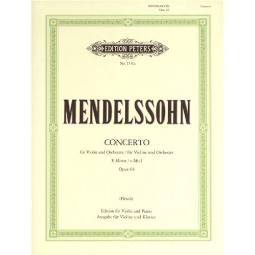 EDITION PETERS MENDELSSOHN FELIX - VIOLIN CONCERTO IN E MIN OP.64 - VIOLIN AND PIANO