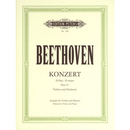 EDITION PETERS BEETHOVEN LUDWIG VAN - CONCERTO IN D OP.61 - VIOLIN AND PIANO