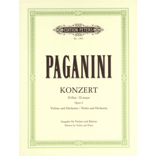 EDITION PETERS PAGANINI NICOLO - CONCERTO NO.1 IN D OP.6 - VIOLIN AND PIANO