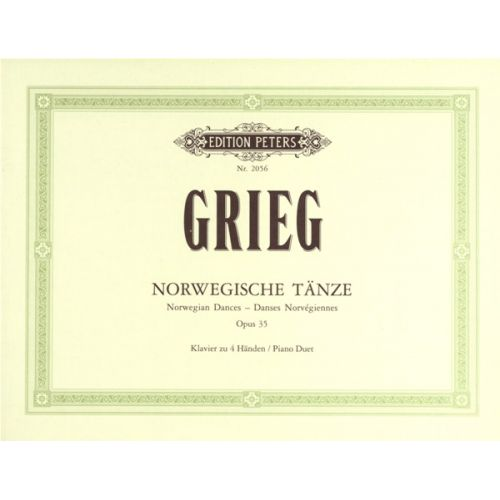 EDITION PETERS GRIEG EDVARD - NORWEGIAN DANCES OP.35 NOS.1-4 - PIANO 4 HANDS