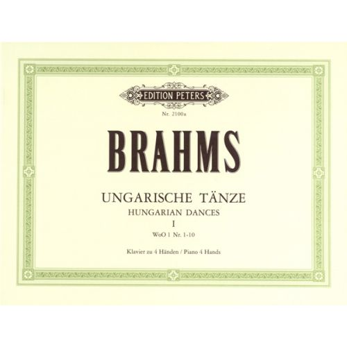 EDITION PETERS BRAHMS JOHANNES - HUNGARIAN DANCES VOL.I - PIANO 4 HANDS