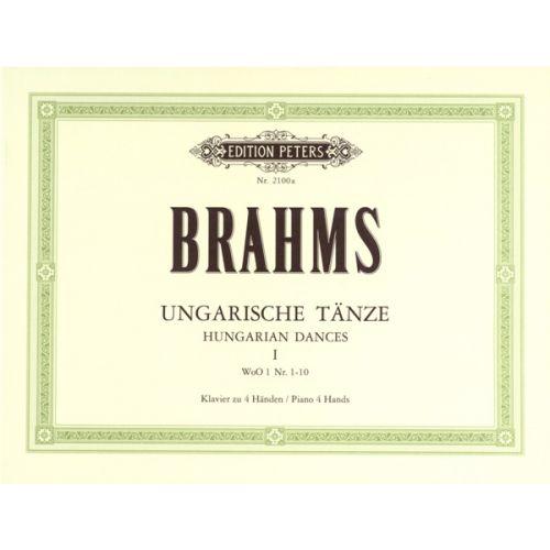 EDITION PETERS BRAHMS JOHANNES - HUNGARIAN DANCES VOL.I - PIANO 4 HANDS