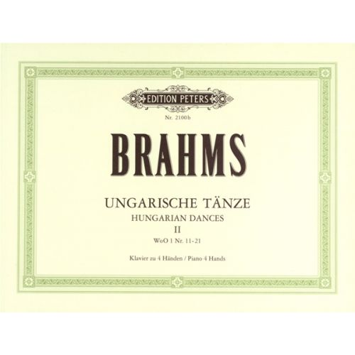 EDITION PETERS BRAHMS JOHANNES - HUNGARIAN DANCES VOL.II - PIANO 4 HANDS
