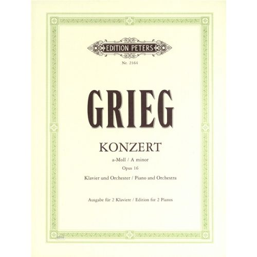 EDITION PETERS GRIEG EDVARD - PIANO CONCERTO IN A MIN OP.16 - 2 PIANOS