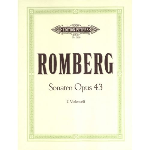 EDITION PETERS ROMBERG ANDREAS - 3 DUET SONATAS OP.43 - CELLO ENSEMBLE