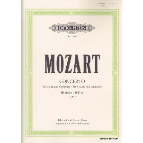 EDITION PETERS MOZART WOLFGANG AMADEUS - CONCERTO NO.1 IN B FLAT K207 - VIOLIN AND PIANO