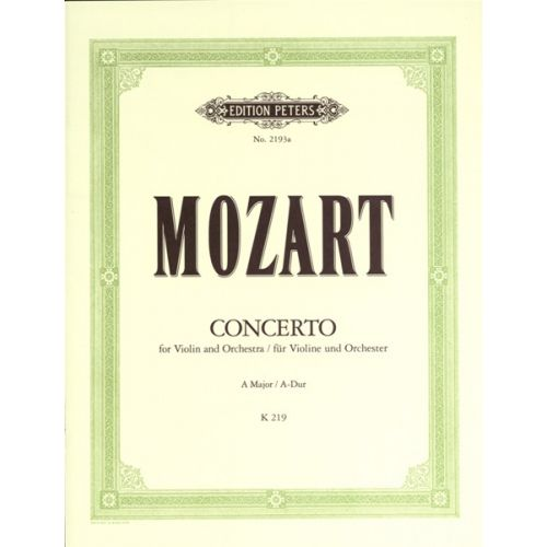 EDITION PETERS MOZART WOLFGANG AMADEUS - CONCERTO NO.5 IN A K219 - VIOLIN AND PIANO