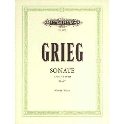 EDITION PETERS GRIEG EDVARD - SONATA IN E MINOR OP.7 - PIANO