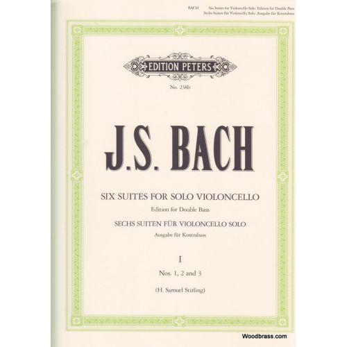 EDITION PETERS BACH JEAN-SEBASTIEN - 6 SUITES VOL.1 BWV 1007/1008/1009 - CONTREBASSE