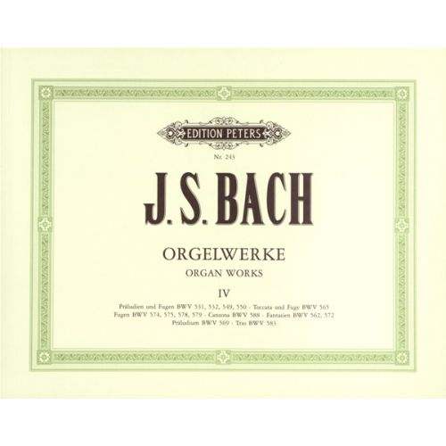 EDITION PETERS BACH JOHANN SEBASTIAN - COMPLETE ORGAN WORKS IN 9 VOLUMES, VOL.4 - ORGAN