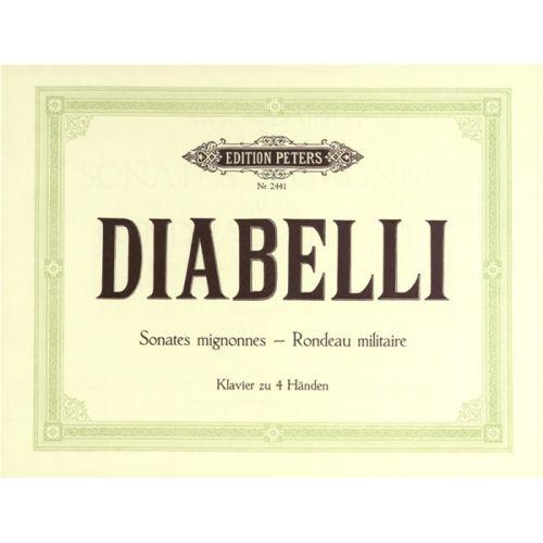 EDITION PETERS DIABELLI ANTON - 2 SHORT SONATAS IN C, G OP.150; RONDO MILITAIRE IN D - PIANO 4 HANDS