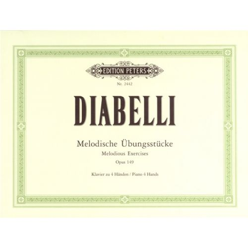 EDITION PETERS DIABELLI ANTON - MELODIC EXERCISES OP.149 - PIANO 4 HANDS