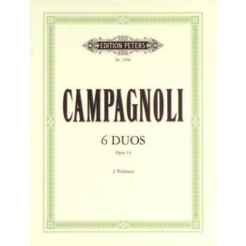 EDITION PETERS CAMPAGNOLI BARTOLOMMEO - 6 PROGRESSIVE DUETS OP.14 - VIOLIN DUETS