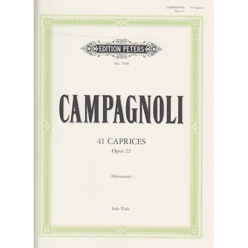 EDITION PETERS CAMPAGNOLI B. - 41 CAPRICES OP. 22 - ALTO SOLO