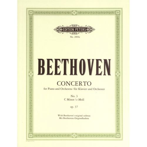 EDITION PETERS BEETHOVEN LUDWIG VAN - PIANO CONCERTO NO.3 IN C MIN OP.37 - PIANO 4 HANDS