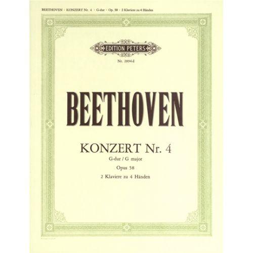 EDITION PETERS BEETHOVEN LUDWIG VAN - CONCERTO NO.4 IN G OP.58 - PIANO 4 HANDS
