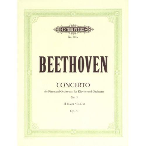 EDITION PETERS BEETHOVEN LUDWIG VAN - CONCERTO NO.5 IN E FLAT OP.73 'EMPEROR' - PIANO 4 HANDS