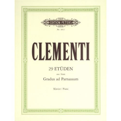 EDITION PETERS CLEMENTI MUZIO - 29 STUDIES FROM 'GRADUS AD PARNASSUM' - PIANO