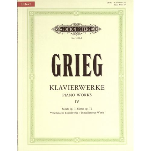 EDITION PETERS GRIEG EDVARD - SUPPLEMENT, VOL. 4 - PIANO