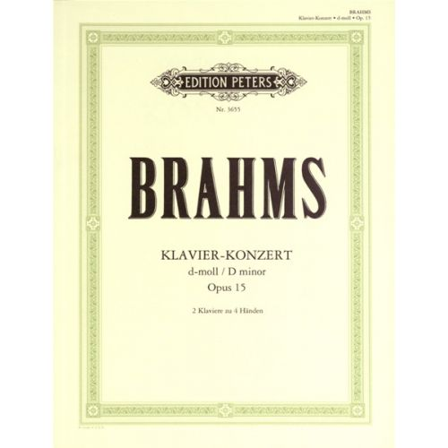 EDITION PETERS BRAHMS JOHANNES - CONCERTO NO.1 IN D MINOR OP.15 - PIANO 4 HANDS