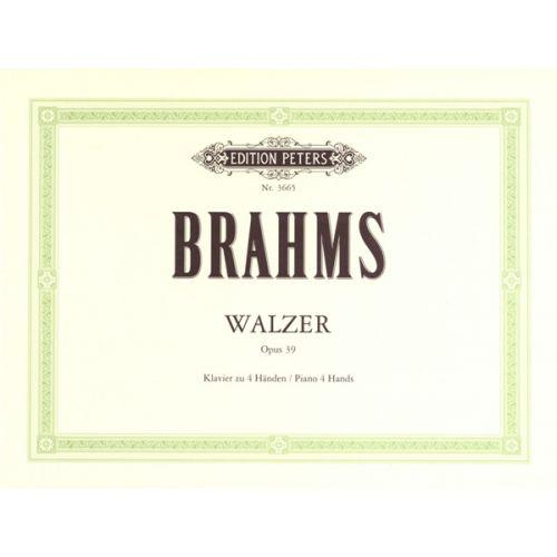EDITION PETERS BRAHMS JOHANNES - WALTZES OP.39 - PIANO 4 HANDS