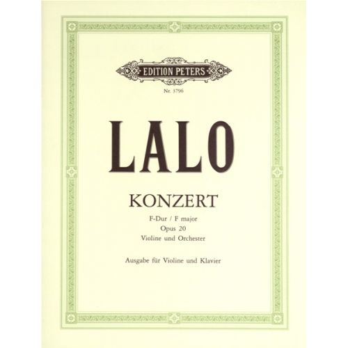 EDITION PETERS LALO EDOUARD - CONCERTO NO.1 OP.20 - VIOLIN AND PIANO