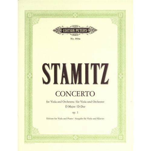 EDITION PETERS STAMITZ CARL - CONCERTO IN D OP.1 - VIOLA AND PIANO