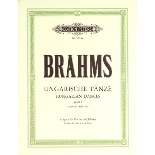 EDITION PETERS BRAHMS JOHANNES - HUNGARIAN DANCES NOS.1-12 - VIOLIN AND PIANO