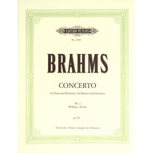 EDITION PETERS BRAHMS JOHANNES - CONCERTO NO.2 IN B FLAT OP.83 - PIANO 4 HANDS