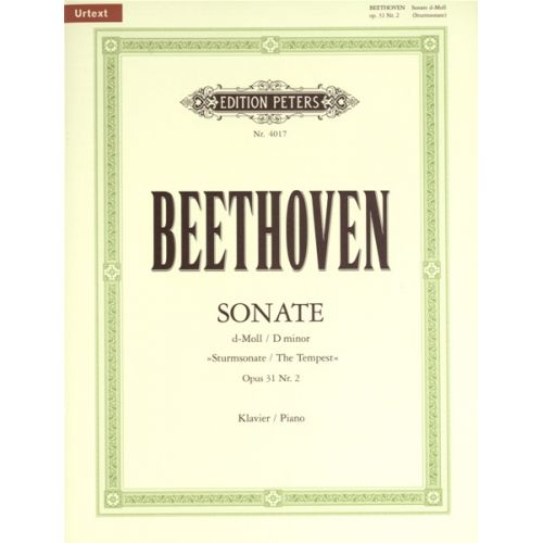 EDITION PETERS BEETHOVEN LUDWIG VAN - SONATA IN D MINOR OP.31 NO.2 - PIANO