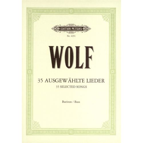 EDITION PETERS WOLF HUGO - 35 BARITONE-BASS SONGS - VOICE AND PIANO (PER 10 MINIMUM)